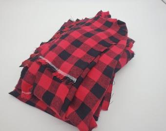 "Red & Black Buffalo Plaid, 3/4"" Check, Flannel Fabric Scrap Bundle"