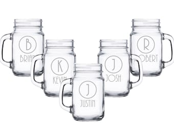 Mason Jar Mugs Personalized, Beer Mug with Handle, Groomsmen Gifts, Custom Engraved Glass, Etched Mason Jar, Rustic Wedding Glasses
