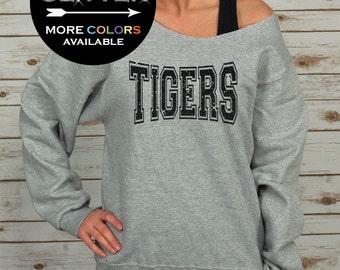Tigers Off Shoulder Raw Edge Sweatshirt for Women GLITTER // School Shirt, Mascot, School Spirit, Team Spirit, Plus Sizes (Black Glitter)