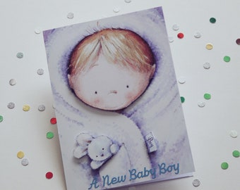 Handmade New Baby Card, Greetings card, Baby boy, Congratulations, Decoupage