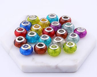 Wholesale 50Pcs/lot Mix Color Crystal Wheel beads Big Hole european bead For DIY Bracelet High quality Rondellen Beads Charm beads