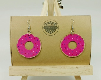 Donut Earrings - Doughnut Earrings - Food Jewelry - Hand Painted - Recycled Jewelry