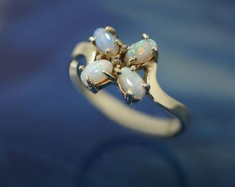 Four Stones Opal Ring - 9ct Solid Gold