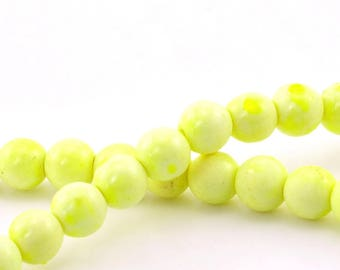 set of 10 yellow 8 mm howlite round beads