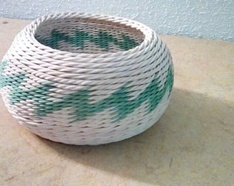 Small basket with green zigzag pattern
