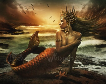 fantasy mermaid art print by Enchanted Whispers