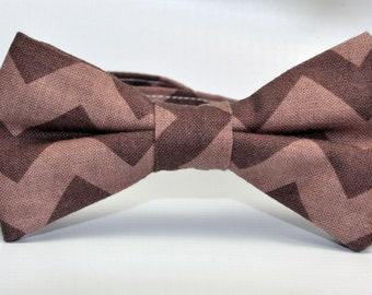 Boy's Bowtie Brown Chevron Bow Tie for Children
