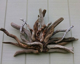 Natural Driftwood Sculpture Rustic Wall Hanging Driftwood Art Beach Wall Decor Dormer Sunburst