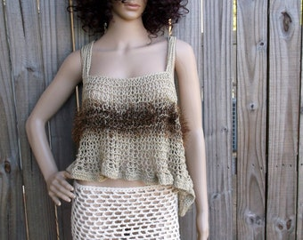 Hand Knitted Swing Top, beach top, Summer Halter Top, Hippie chic, Knit tank top, boho top, festival top