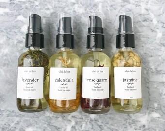 Rose Body Oil | Romantic Massage Oil | Rose Bath Oil | Crystal Infused Body Oil | Natural Moisturizer | Vegan Skincare | Anniversary Gift