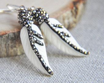 Feather Earrings, Bone Earrings, Feather Bone Earrings, Boho Feather Earrings, Boho Earrings, Sterling Silver Earrings, Everyday Earrings