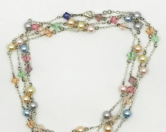 "52"" pastel Swarovski crystals and pearls necklace"
