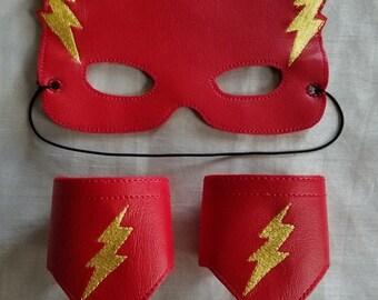 Kids Mask, Vinyl Mask & Wristlet Set, Kids Play Mask Set, Mask for Kids, Fast Hero Mask, Superhero Mask,Ready to Ship