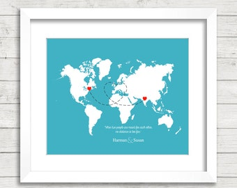 India love etsy 8x10 love world map long distance relationship international essex vermont usa delhi india wedding gift paper anniversary gumiabroncs Gallery