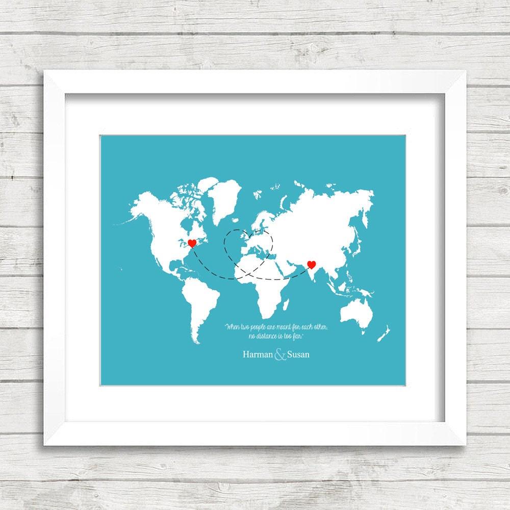 8x10 Love World Map Long Distance Relationship