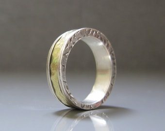 Woman Wedding Band, Silver and gold wedding band, 18k Gold and Silver Wedding Band, Textured wedding ring
