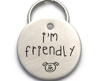Engraved Dog Name Tag, I'm Friendly, Stainless Steel Customized ID With Cute Puppy Face