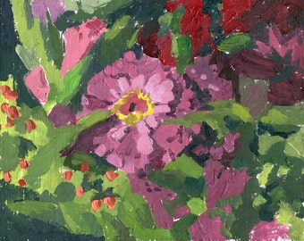 Zinnias:  Floral Original Oil Painting by Sarah F Burns