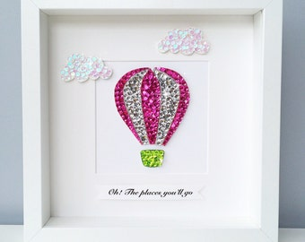 New baby girl frame, oh the places you'all go, hot air balloon, nursery wall art, dr seuss quote, girls nursery decor, new baby girl gift