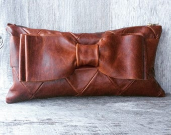 Leather Bow Clutch Bag in Diamond Quilted, Distressed, Chestnut -Rustic Evening Bag - Gift for Her by Stacy Leigh