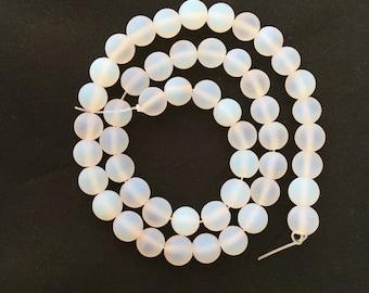 Opal Glass, Matte Beads, 8mm Beads, Opal Beads, Frosted Beads, 6mm Beads, Opal Glass Beads, Gemstone Beads, White Beads, White Opal Beads