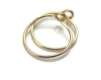 "Solid Gold Small Hoop Earrings Solid Gold Hoops for Sensitive Ear, 1/2"" Size, One Pair"