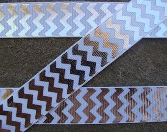 "Glittery chevron ribbon 3y silver and white Chevron Ribbon  silver ribbon Zigzag chevron ribbon Hair Bow Ribbon 7/8"" hair bow supplies"