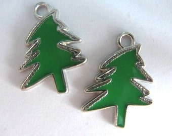 Set of 5 pieces Enamel EVERGREEN TREE Charm Pendants