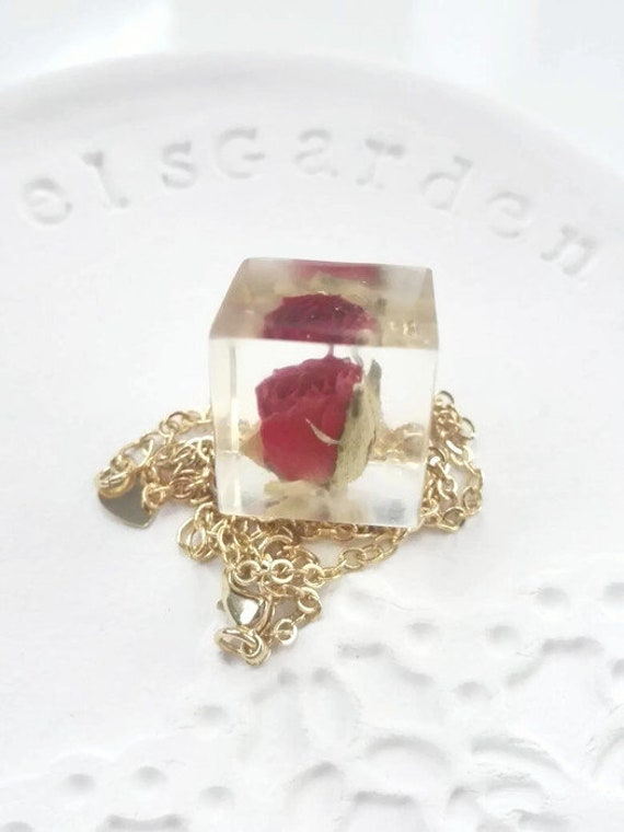 Cube necklace gold necklace for women gold one of a kind real flower real red rose pendant necklace gold filled birthday gift for women