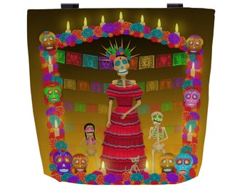 Yellow Ómbre Day of the Dead (Dia de los Muertos) Every Day Use Tote Bag