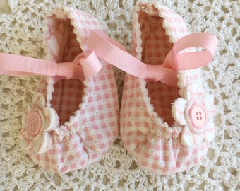 Pink Gingham Baby Mary Janes in Two Sizes