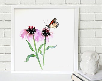 Monarch Butterfly Art - Echinacea Floral Watercolor Painting Art Print