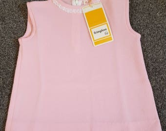 1960s vintage crimplene baby pink girls dress