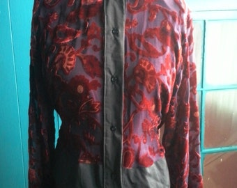 Sheer embroidered button down