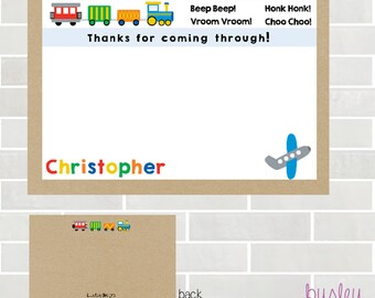 Planes Trains Automobiles Party Thank You, Transportation Birthday, Transportation Thank You, Second Birthday *NEW STORE