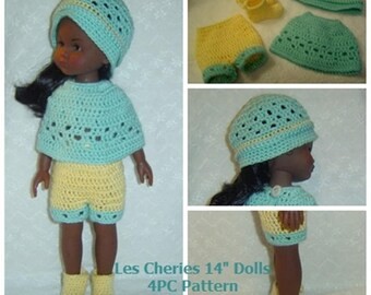0098 Corelle Les Cheries,Winter Patience Shorts,Doll Clothing Pattern,14 inch,Doll 4PC Pattern Set  by CarussDesignZ