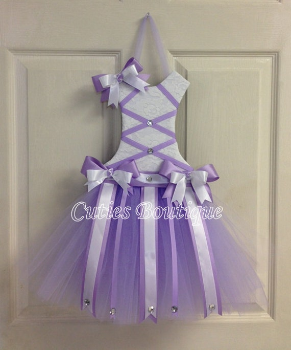 Tutu Dress Hair Bow Holder Lavender Perfect Gift For Christmas