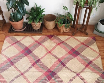 Vintage Rattan Palm Leaf Woven Area Indoor / Outdoor Mat Bohemian Home Decor