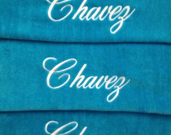3 Towels & 1 Bag Personalized BEACH Towels and Canvas Tote Bag Embroidered - 100% cotton terry velour - Friends and Family - Made To Order