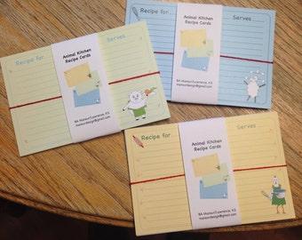 Animal Kitchen Recipe Cards
