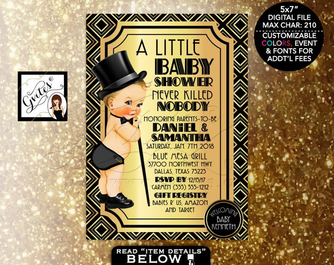 Great Gatsby Baby Shower, Baby Boy 1920s Shower Themed Party, Printable, Vintage Boy Top Hat, Digital File Only! 5x7 Gvites