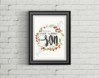 Isaiah 9:6, Print, watercolor, wall art, bible verse print, scripture, typography, Christmas, winter, holiday, wreath