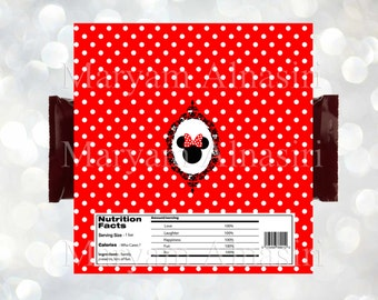 Minnie mouse chocolate Bar Wrapper, Red and black , Minnie mouse party favor. INSTANT DOWNLOAD ,DIY . Digital file