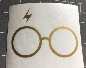 Harry Potter Glasses and Lightening Bolt Decal