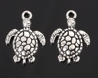 set of 2 turtle charms