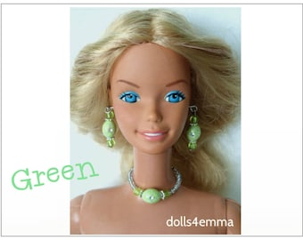 SUPERSIZE 18 in  Barbie Doll Jewelry Set - GREEN Necklace and Earrings - by dolls4emma