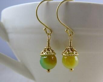 Lemon lime Jade earrings in gold vermeil