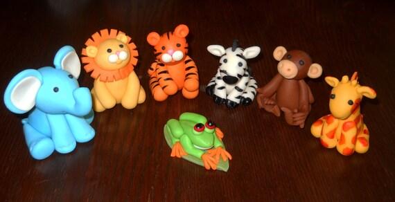 Safari Jungle Animal Baby Shower Cake Toppers Large Set
