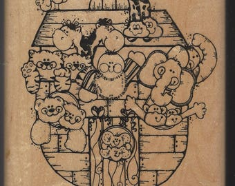 D.O.T.S. Wood Rubber Stamp 112 Noah & Co Noah's Ark Full of Animals Rubber Stamp Perfect for Cards or Scapbooking Retired