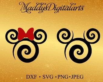 Swirl Mickey Svg, Disney SVG, Mickey SVG File, Minnie Svg, Vinyl Cutting File, Minnie DXF File, Mickey Silhouette, Cricut, Disney Dxf